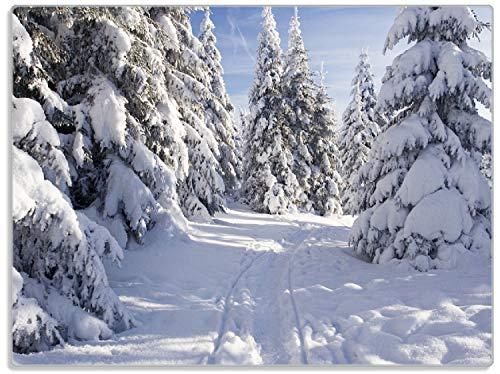 Wallario Stilvolle Glasunterlage/Schneidebrett aus Glas, Wanderweg im Schnee, Größe 30 x 40 cm, Kratzfest, aus Sicherheitsglas
