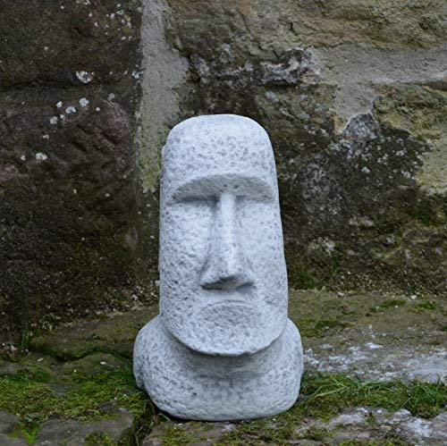 gartendekoparadies.de Moai Steinstatue Osterinsel Kopf Gesicht Dekorationselement aus Steinguss, frostfest
