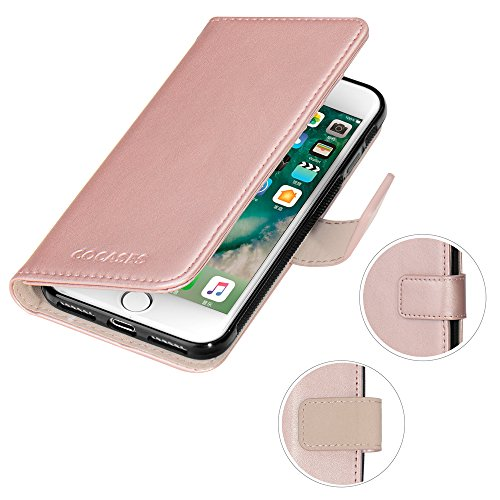 iPhone 8 Plus Hülle, iPhone 7 Plus Lederhülle, COCASES abtrennbare Book Case mit Magnetverschluss, Geldbeutel für (Türkisblau) Rosa Gold