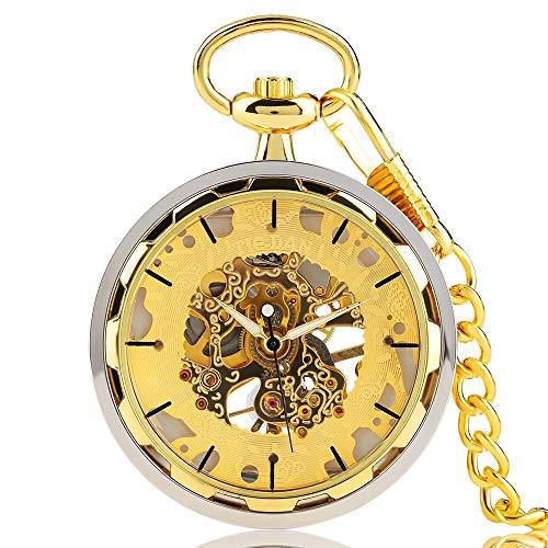 HJKLO Taschenuhr Taschenuhr Windup Mode Elegant Klassisch Mechanisch Handaufzug Uhr Casual Skeleton CoolMen, Gelb (Wind Up Pocket Watch Mit Kette)