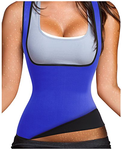 Hot Thermo Schweiß Neopren Shapers Slimming Gürtel Taillenmieder Girdle für Gewicht Loss (Large, Blau)