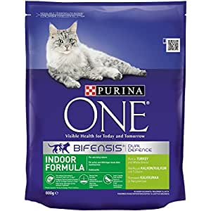 Purina One Indoor Cat Turkey and Wholegrain, 800 g - Pack of 4
