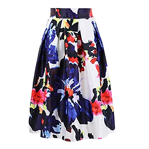 LAEMILIA Women's High Waist Floral Jacquard Pleated A Line Skirt