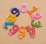 CraftDev Wooden Fridge Magnet Numbers 0-9 Kids Educational - MultiColor