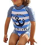 G WELL Kinder Float Suit Einteiler Bojen Badeanzug Auftrieb Schwimmanzug Bademode mit Schwimmhilfe für Jungen Mädchen 80-90cm Blau Anker S
