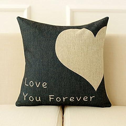 Cuscini cuscini del divano paio di cuscini tappeti pisolino amore cuscini di lino cuscini del divano ufficio ( colore : Nero )