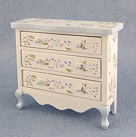 Dolls House Miniature Bedroom Furniture HandPainted Blue Violet Chest of Drawers