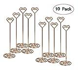 Tabella numero titolari di carta, 10pz, altezza 21,8cm. A forma di cuore foto immagine note Holder, stand place Paper menu clip per matrimonio, ristorante e party Rose Gold