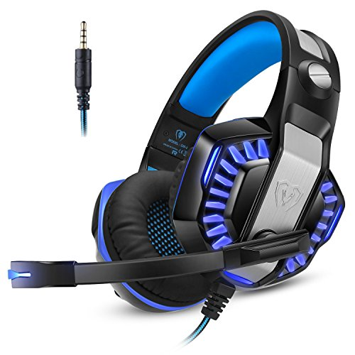 Cascos Auriculares Gaming Gamer PS4 Xbox one PC Diadema Cerrados Micrófono LED MAC Ordenador Tableta Teléfono 3,5mm Estéreo Control Volumen (Gratis Adaptador Incluido) Micolindun