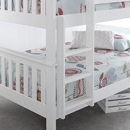 Happy Beds Oslo Quadrouple Sleeper Bunk Bed White Wooden with 2 x Memory Foam Mattress 4' Small Double 120 x 190 cm