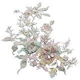 Pinzhi Pearl Perles 3d Fleurs en dentelle Applique Robe de femme Décor floral Patch Costume (Macaroon1)