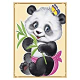 ZHHGOOD 5D Salón Dormitorio Decoración Rubik'S Cubo Diamante Redondo Punto De Cruz Pintura Diamante Bebé Panda