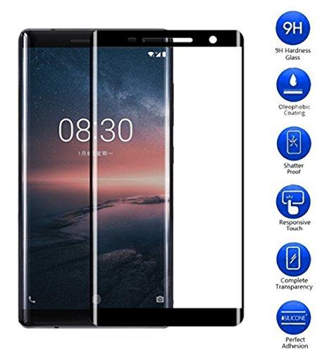 Vicstar Verre Trempé Nokia 8 Sirocco, Film Protection d'écran en Verre Trempé Glass Couverture Complète [sans Bulle] [Anti-Rayures] [HD Clair] [9H + Dureté] pour Nokia 8 Sirocco - Noir