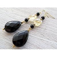 Orecchini con citrino giallo e agata nera, pendenti a goccia, orecchini lunghi, gioielli pietre dure, bijoux artigianali