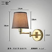 Lilamins Camera da letto,soggiorno,Studyroom testata del letto Lampada da parete con una parete girevole Lampthatgold (lente grigia)