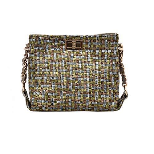 Mitlfuny handbemalte Ledertasche, Schultertasche, Geschenk, Handgefertigte Tasche,Mode Frauen Retro Weben Wolle Eimer Tasche Umhängetasche Kette Umhängetaschen -
