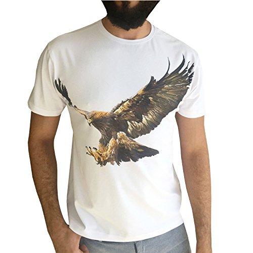 JustCool Herren T-Shirt Weiß & Schwarz Rundhals | Kurzarm | Motiv Eagle