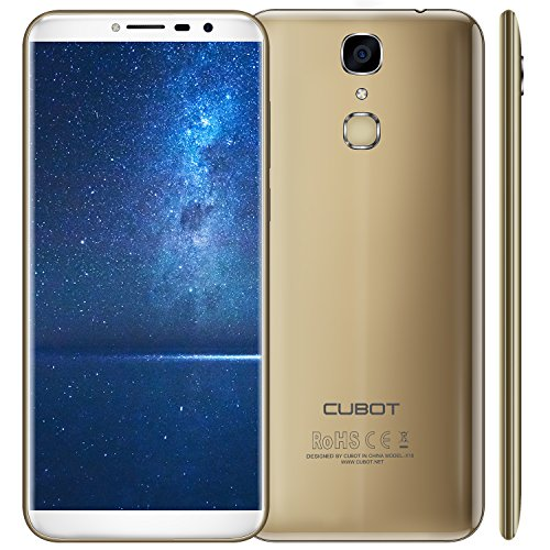 Cubot X18 (2017) Android 7.0 4G-LTE Dual Sim Smartphone ohne Vertrag, 5.7 Zoll (18:9) IPS HD Touch-Display, 3GB Ram+32GB interner Speicher, 16MP Hauptkamera / 13MP Frontkamera, Split Screen Mode Funktion, Fingerprint Sensor, 2.5D gebogener Bildschirm, nutzbares GPS, Benachrichtigungs-LED, Gold