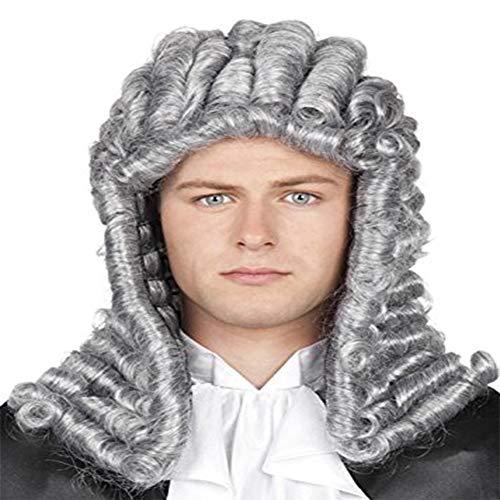 RANRANHOME Anwalt Wig Richter Lange Lockly Graue Männer Koloniale George Washington Historisches Kostüm Halloween Kleid Accessoires