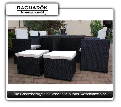 Gartenmöbel PolyRattan Essgruppe Tisch mit 6 Stühlen & 4 Hocker DEUTSCHE MARKE — EIGNENE PRODUKTION Garten Möbel incl. Glas und Sitzkissen Ragnarök-Möbeldesign - 7