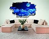 Mond Nacht Himmel 3D Look Wandtattoo 70 x 115 cm Wanddurchbruch Wandbild Sticker Aufkleber DesFoli © C433
