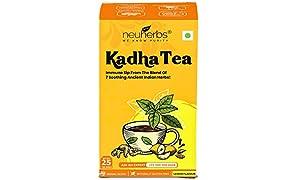 Neuherbs Kadha Tea Lemon Flavour 25 Teabags - Ayush Kadha for Immunity Booster