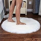 YIHAIC Alfombra de piel sintética suave y esponjosa para decoración de habitaciones,de forro polar sintético,para asiento acolchado,suave,esponjoso,alfombra para dormitorio o sofá, Round White,90x90cm