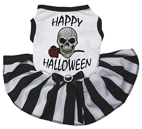 petitebelle Puppy Kleidung Hund Kleid Happy Halloween Weiß Top Schwarz Weiß Tutu (Happy Halloween Animal Costumes)