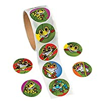 Roll of 100 - Frog Roll Stickers - Halloween Party Loot Bag Fillers