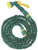 FloraSun Flexibler Gartenschlauch mit Zubehör, Sprühkopf mit 7 Funktionen, Endlänge 7,5 m, Dehnbar, Kunststoff/Latex/Polyester, verlängerbar
