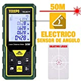 Telémetro láser 50m, TECCPO Medidor láser con Sensor de ángulo electrónico, m/in/ft/ft+in,...