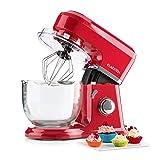 Klarstein Allegra Rossa Robot de cuisine multifonction avec bol en verre de 4,2 L (accessoires fouet, pétrin, batteur, 6 vitesses, 800W) - rouge