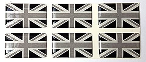 Union Jack British Flag Black & White Sticker Decal Badge 3d Resin Gel Domed 6 Pack 26mm x 16mm