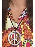 Fancy Ole - Kostüm Accessoires Zubehör 60er 70er Jahre Hippie Woodstock Peace Friedenszeichen Medaillon, perfekt für Karneval, Fasching und Fastnacht, Silber