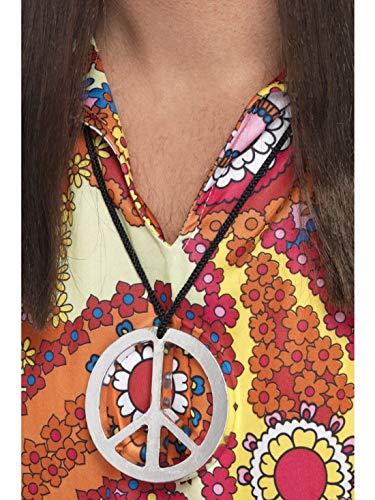 Accessoires Zubehör 60er 70er Jahre Hippie Woodstock Peace Friedenszeichen Medaillon, perfekt für Karneval, Fasching und Fastnacht, Silber ()