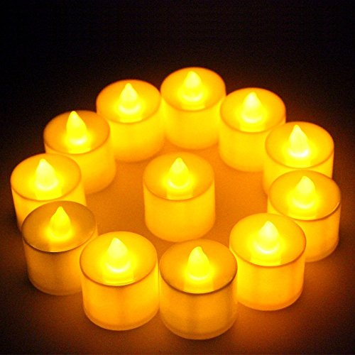 Perfect LED Flameless YELLOW Tea Light Candles With Extra Batteries SET OF BIG SIZE (6)