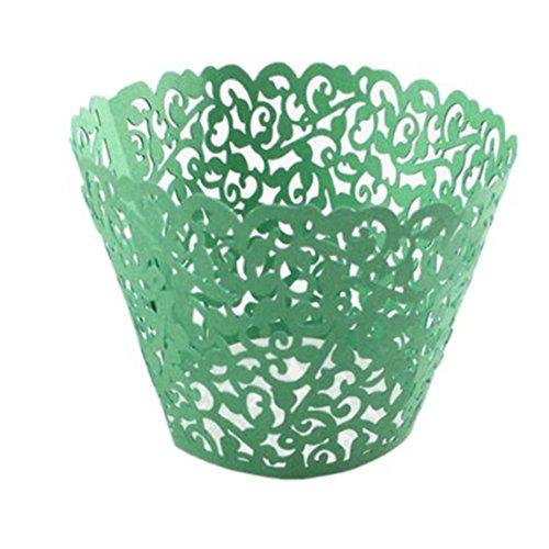 joyliveCY 50pcs Pearly Papier Vine Spitze Cup Cake Cupcake Wrappers Turm Cake Decoration Supplies Grün (Vine Maker)