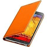 Samsung EFWN900B Etui Portefeuille en cuir pour Samsung Galaxy Note 3 Orange