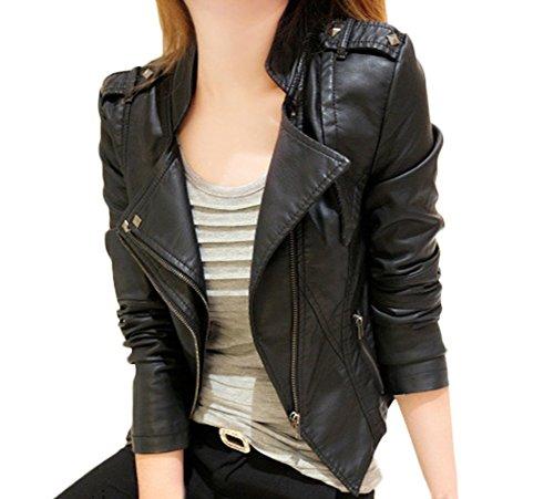Lederjacke Damen Elegant Langarm Revers Schraeg Zipper Kurz Jacken Uni-Farben Slim Fit Mode Große Größen Frauen Jacket Für