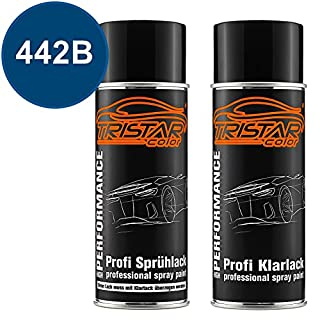 TRISTARcolor Autolack Spraydosen Set Alfa Romeo 442B Blu Metallic Basislack Klarlack Sprühdose 400ml