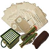 10 Staubsaugerbeutel + Filterset + Rundbürsten geeignet für Vorwerk VK 130 . VK131 . VK131 SC mit EB 350 oder EB 351