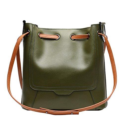 ZPFME Womens Handtasche Rindsleder Eimer Tasche Einkaufstasche Einfach Schultertasche Mädchen Party Retro Damen Mode Handtaschen Green