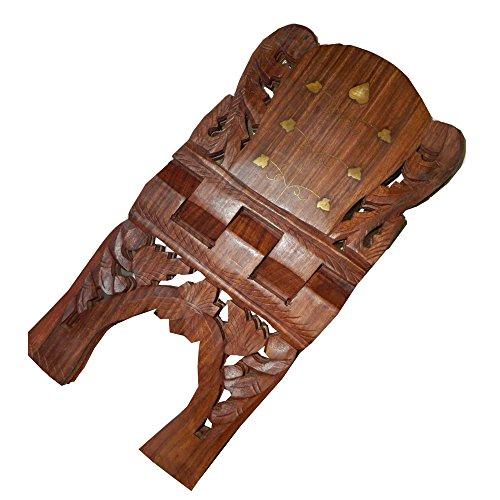 indischerbasar.de Buchständer Holz Buchstütze 38cm aufklappbar Messingeinlagen Pflanzenranke Kleinmöbel Deko