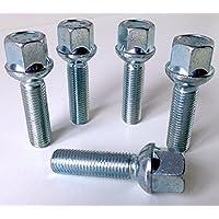 Set de 5aleación llave para pernos de rueda M12x 1,5rosca 40mm de largo, Radio asiento, 17mm hexagonal apto para Mercedes
