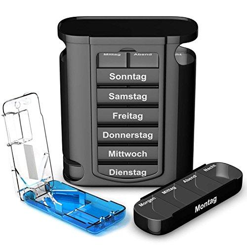 TravelFancy Tablettenbox für 7 Tage mit je 4 Fächern [Modell 2019] inkl. Tablettenteiler, Befüllungsplan und Medikamentenbox Anleitung