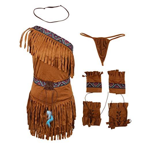 Baoblaze 6 teilig Damen Kostüm Indianerin Indianerkostüm Kleid, Gürtel, Stirnband,Tanga, Armband, Knöchelwickel - Khaki, XL