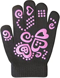 Girls Super Soft Fine Knit Magic Stretch Gripper Winter Gloves