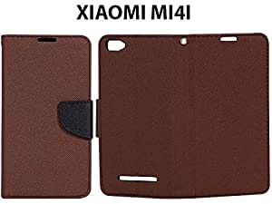 Synthetic Leather Finished Flip Case Cover For XIAOMI Mi 4i-Brown With Black