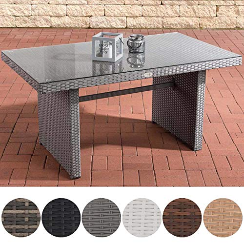 CLP Polyrattan-Gartentisch FISOLO mit Einer Tischplatte aus Glas I Wetterbeständiger Tisch aus Polyrattan Grau - Schwarz-braun-ecke-sofa