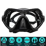 PluieSoleil Maschera da Sub Professionale Vetro Temperato Antiappannamento per visibilità cristallina (Nero)